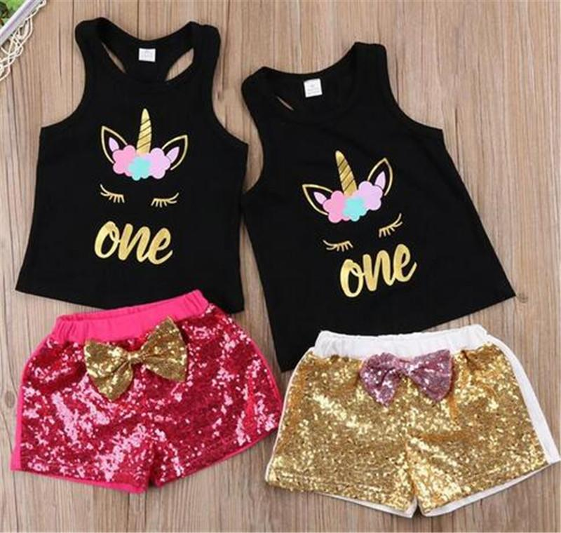 21f422e50c7f Ropa para niños Niños Niñas Unicornio Conjunto de ropa corta Niños Sin  mangas Unicornio Camisetas sin