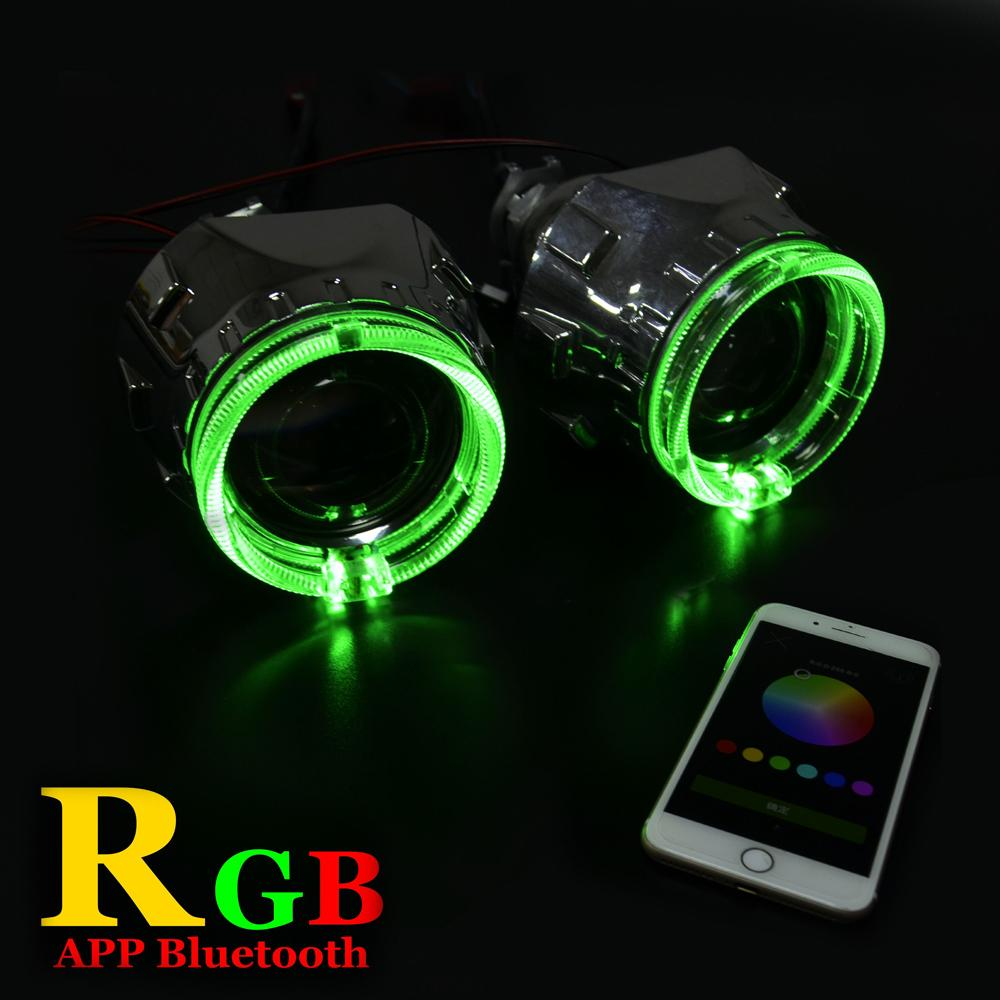 2.5 inch car Bi xenon hid Projector lens with RGB app Bluetooth function angel eyes mask bulb lamp car assembly kit For H1 H4 H7