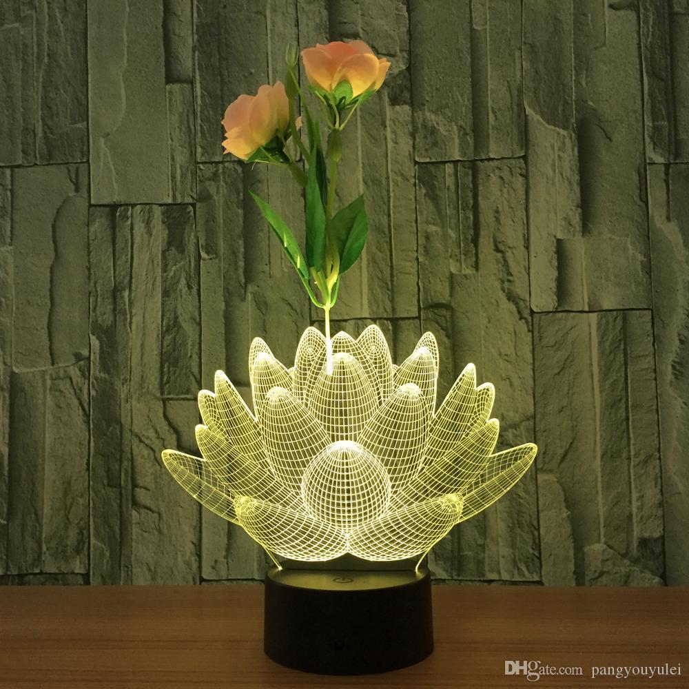 Lampes De Bébé La Cadeau Lotus Maison Enfants Décoration Florale Pour 3d Composition Table Lampe Usb Bureau Lumières Lumière Led Acheter 34j5ARLq
