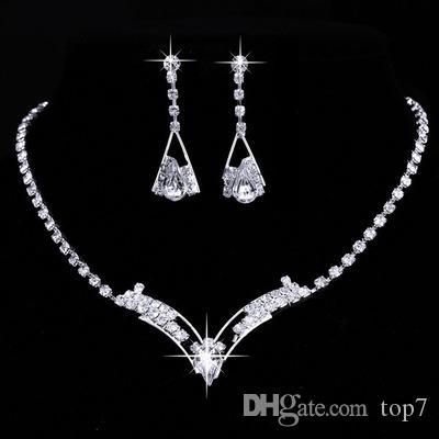 Nowa Moda Kobiety Iskrzydlanie V Kształcie W Kształcie Rhinestone Kryształ Naszyjnik Kolczyki Urok Wedding Jewelry Set Bridal Jewelry Ustaw dekoracje ślubne