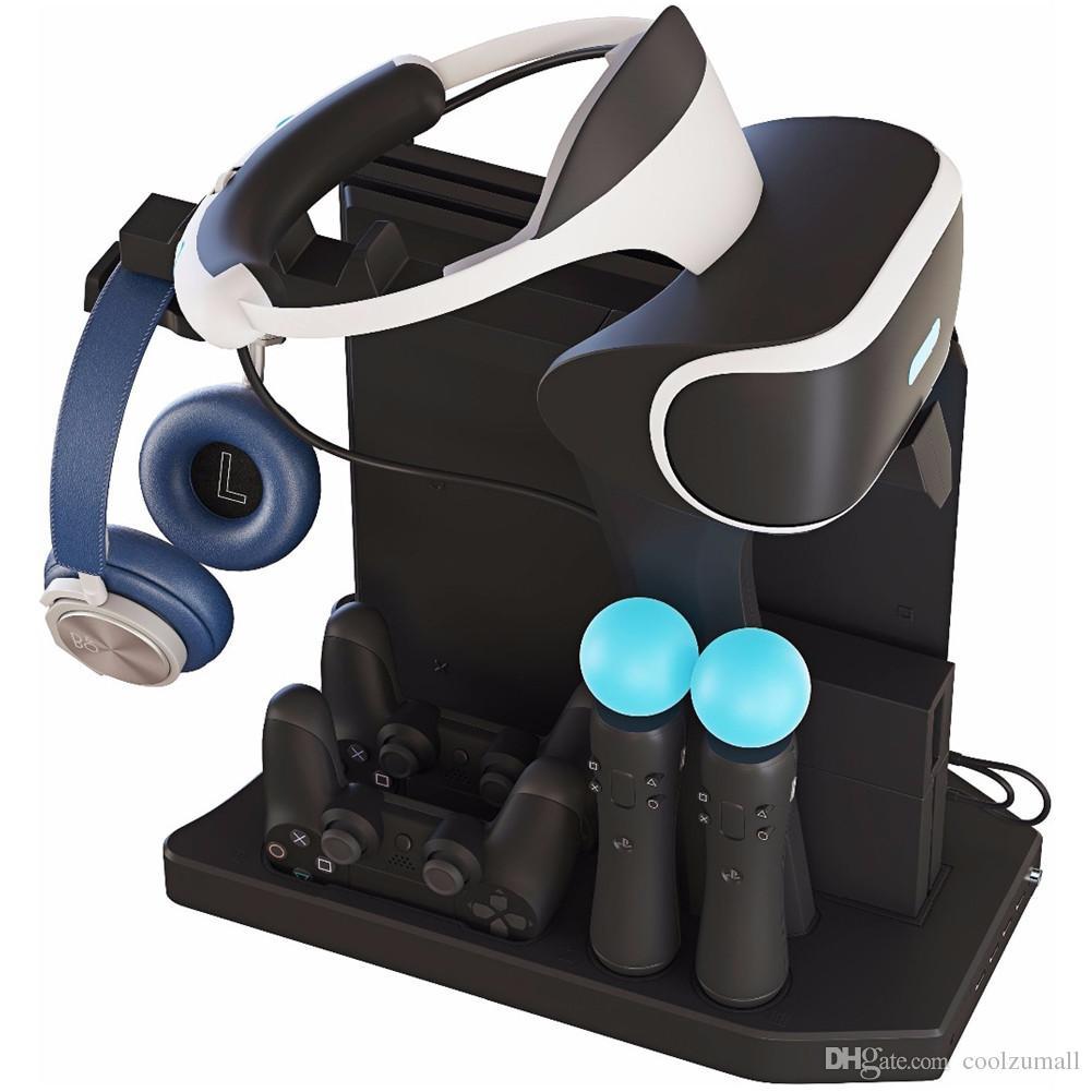 PS4 VR 1/2 PS4 PS4 Pro İnce PSVR Dikey Standı için Kontrolör Şarj Hub Şarj Gösterge Fan Cooler Soğutma, Vitrini Standı