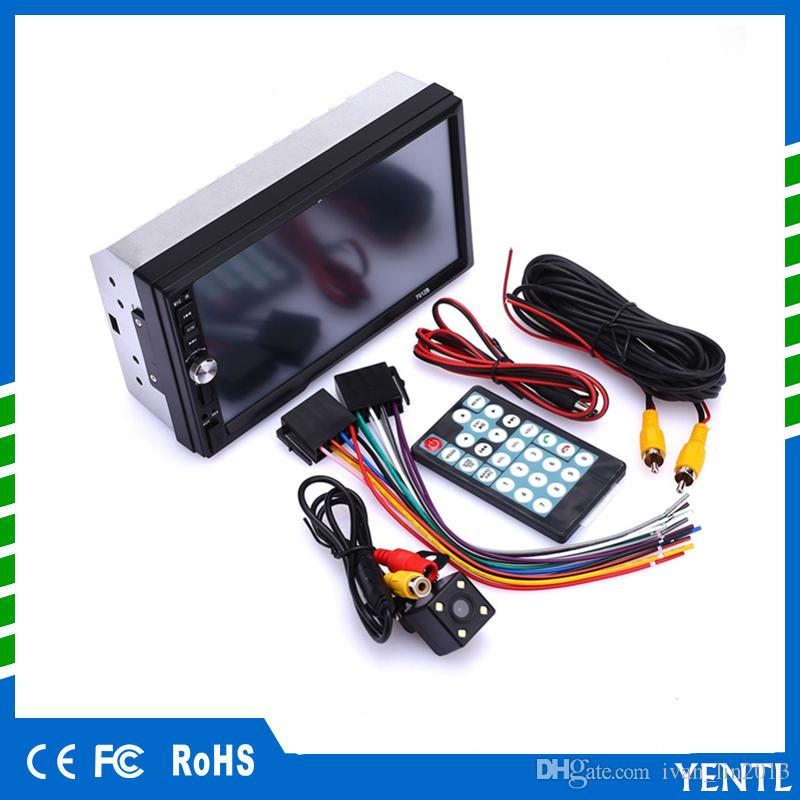 Free shipping Rectangle Universal 7inch MP5 Player 2Din Touch Screen Car DVD Video Audio Stereo autoradio Touch Screen with rear view camera