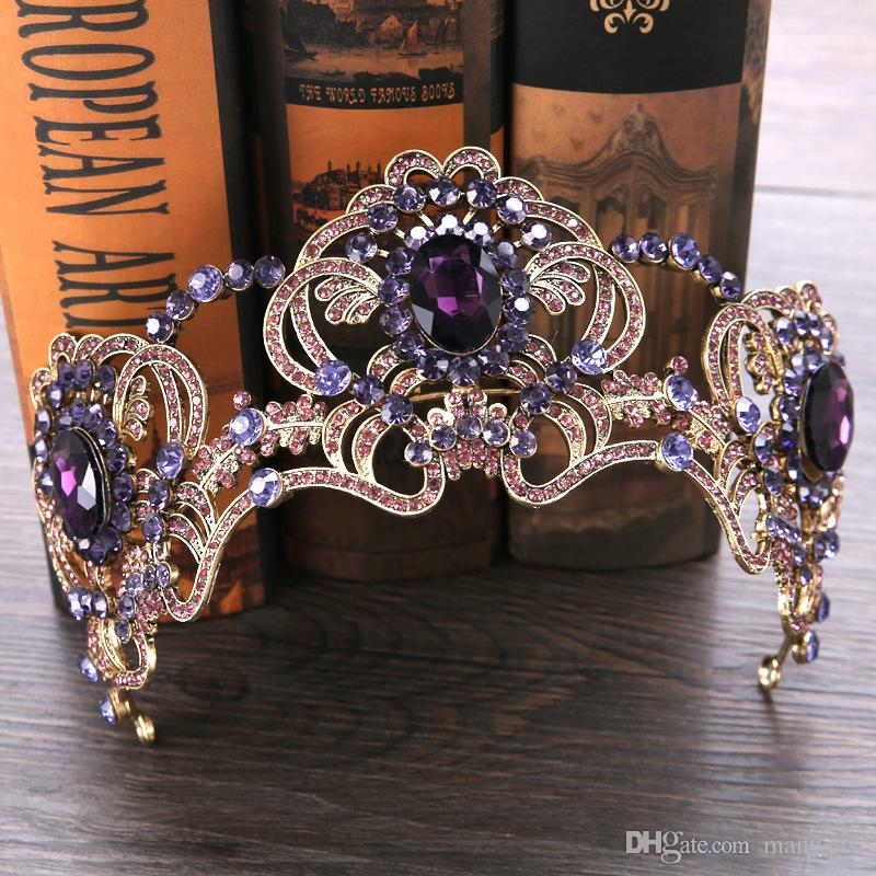 Lusso viola strass da sposa Fascinators Testa pezzi Crystal Wedding Party fasce Tiara Crowns Prom sera accessori per capelli
