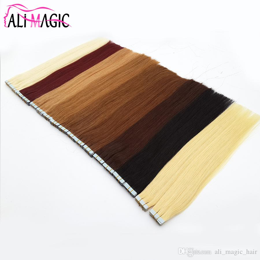 Ali Magic Factory Price Top Quality PU Tape In Skin Weft Hair Extensions 100g/40pieces 27 Colors Optional Peruvian Brazilian Remy Human Hair