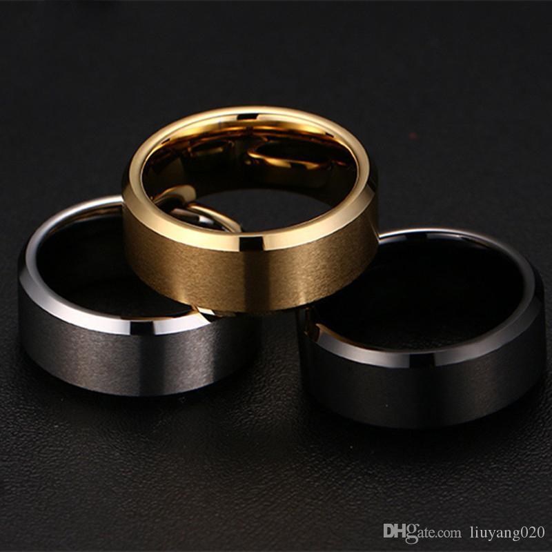 Moda uomo affascinante di alta qualità nero oro argento acciaio inossidabile maschile anello accessori gioielli di moda