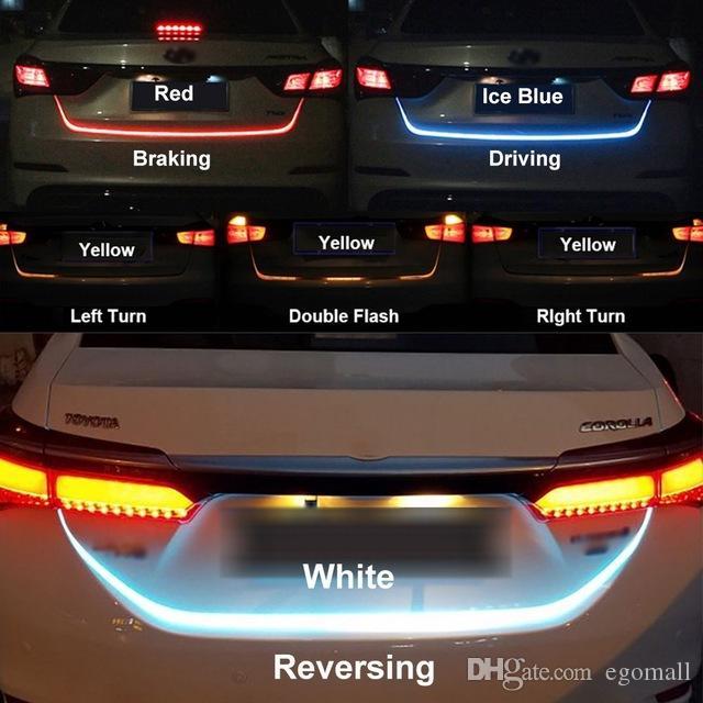 자동차 LED 스트립 조명 후면 트렁크 테일 라이트 동적 유영 브레이크 턴 신호 역방향 LED 경고 빛 신호등