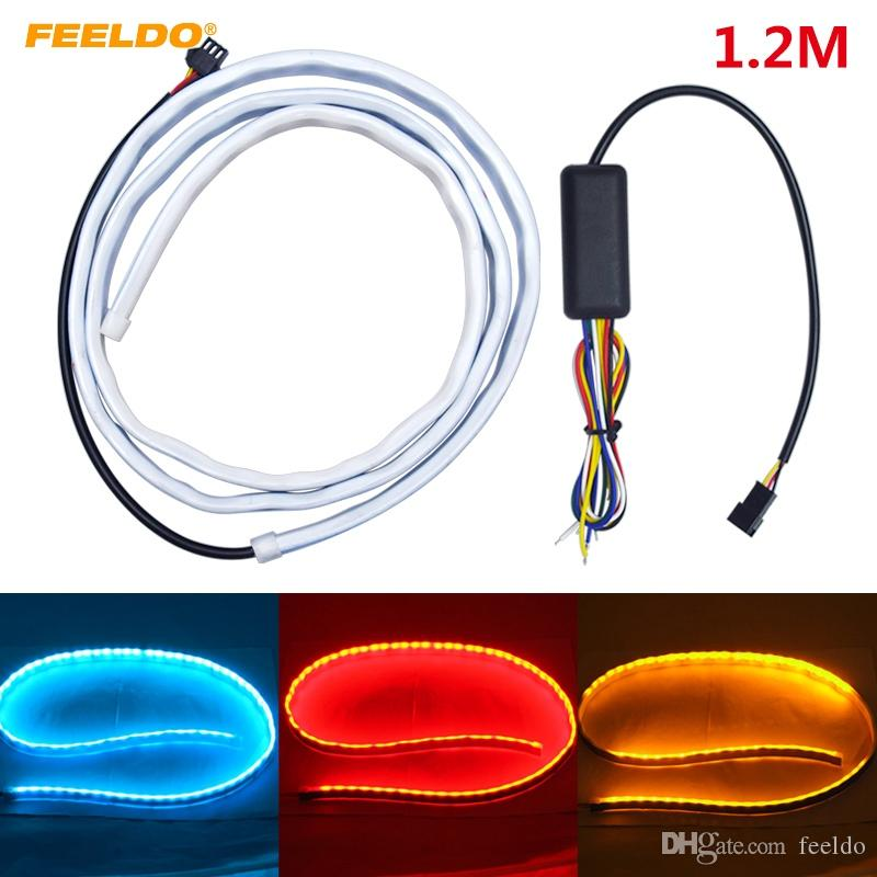 FEELDO Universal 1.2m Car Rear Tail Box Light Streamer Brake Turn Signal LED Strip DRL Light Tail Decoration Accessories #3035