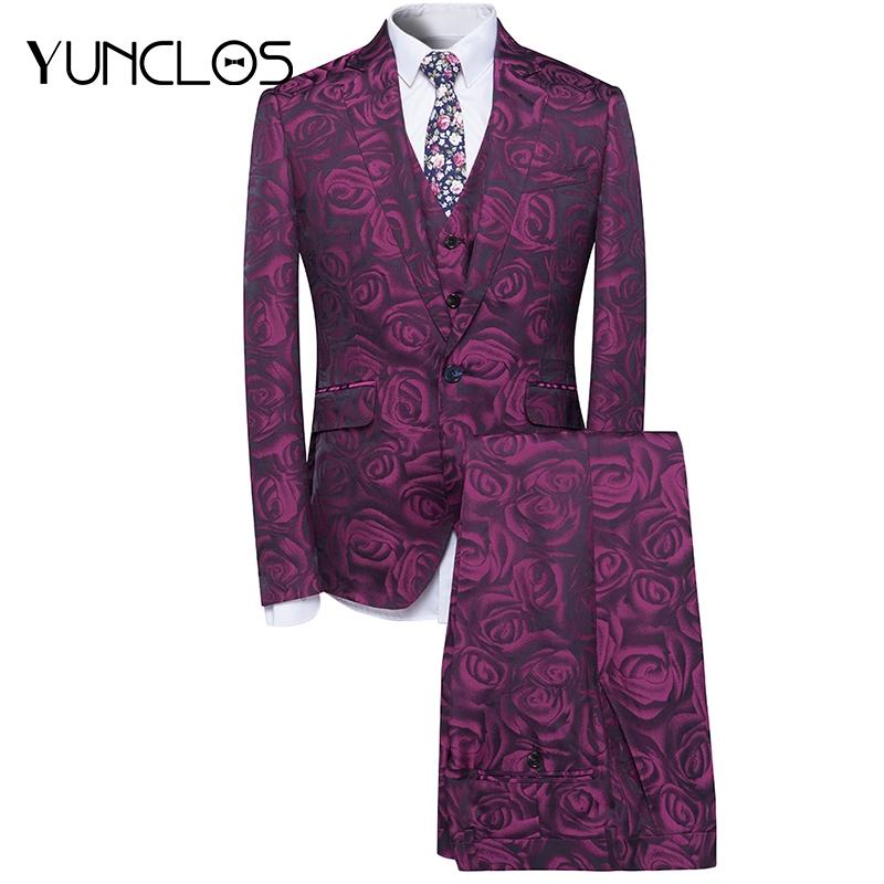YUNCLOS Rose Printed Men Suit Fashion Party Wedding Suit For Men 3 Pieces Slim Fit Gentleman Suits Terno Masculino