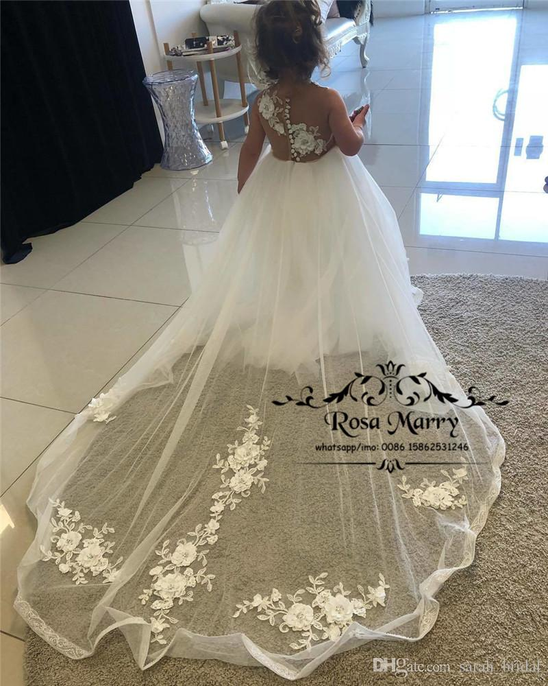 Princess White 3D Floral Flower Girls Dresses 2019 Ball Gown Vintage Lace Cheap Simple Girls First Communion Birthday Party Gowns