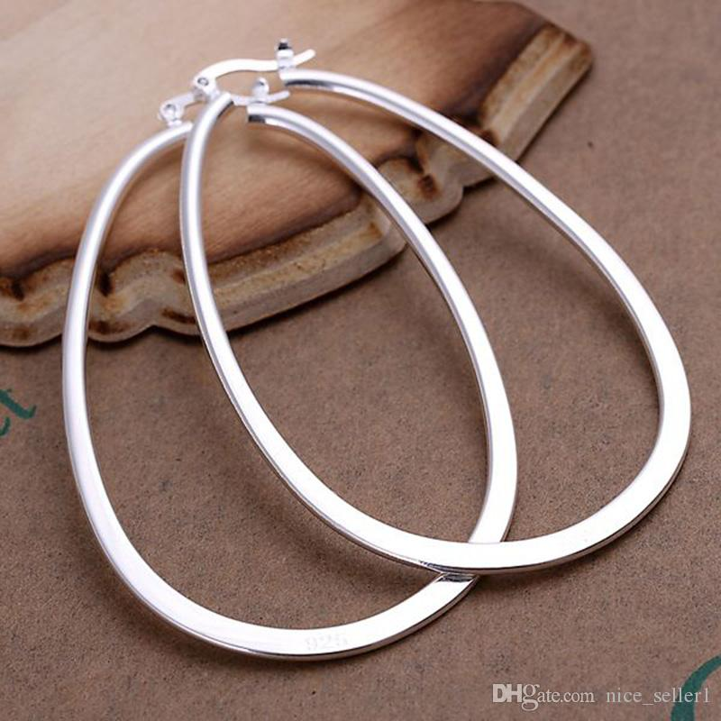 Fashion Solid 925 Sterling Silver Earring for Women 1Pair XMAS 2020 New Classic Fine 925 Silver Round Hoop Dangle Earring Stud Link Italy
