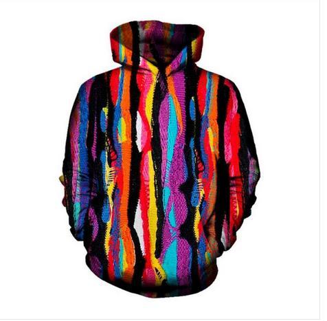 Al por mayor - Envío gratis Color de tela Divertido 3D Imprimir Hombres Mujeres Sudaderas con capucha Street Wear Casual Hip Hop Bolsillos Sudadera Ropa ZGXL021