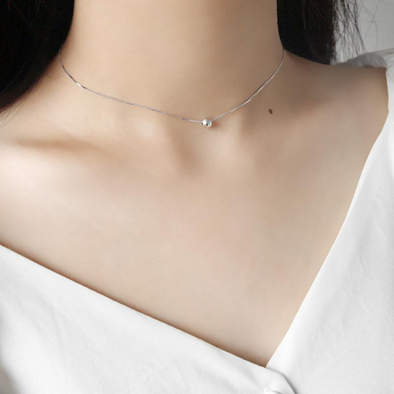 100% Real 925 Sterling Silver Choker Necklaces for Women Korean Style Bead Box Chain Necklace Fine Party Jewelry YMN078