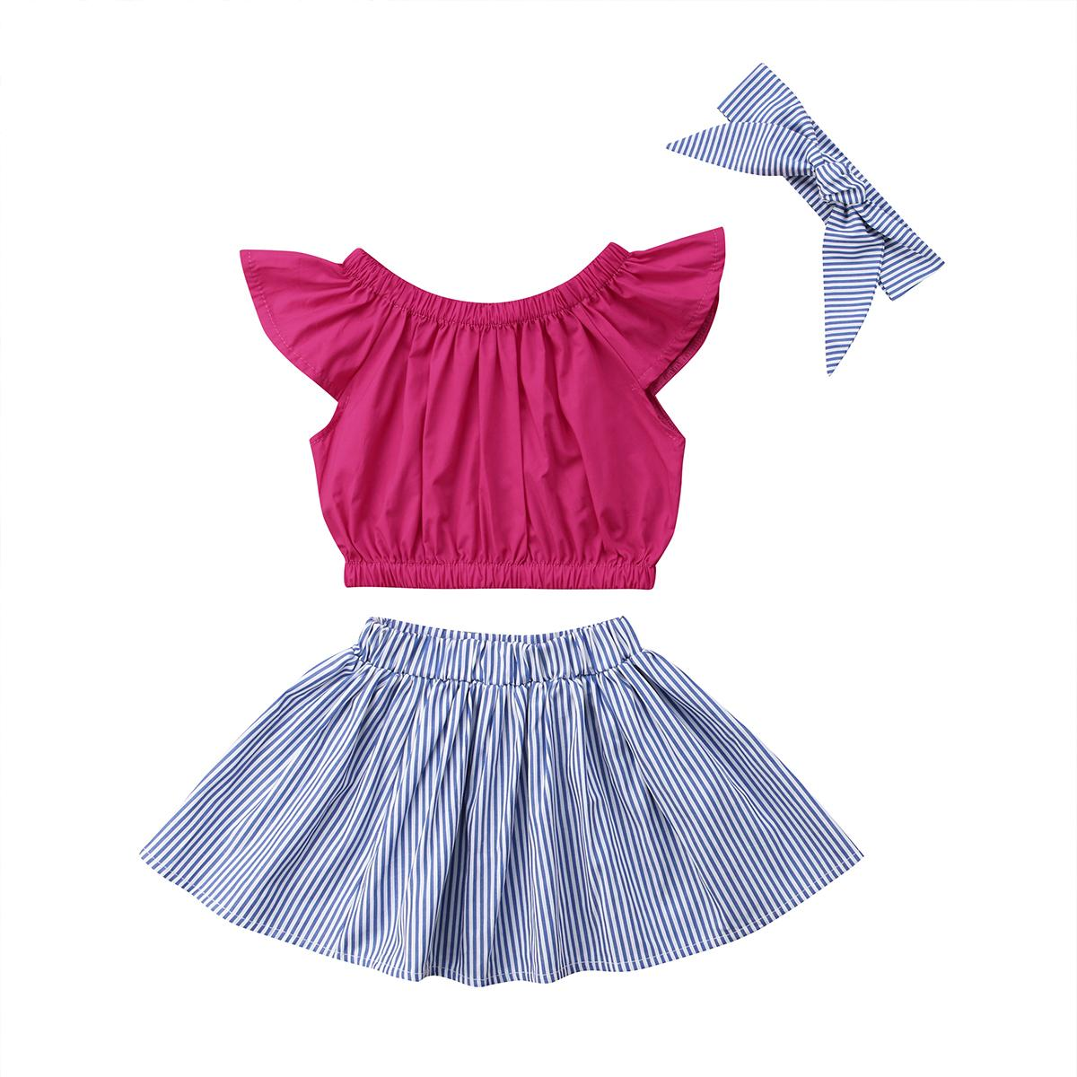 Black Skirt Toddler Kids Baby Girl 3PCS Skirt Set Ruffle Red Plaid T-Shirt Top Headband Casual Outfit Clothes