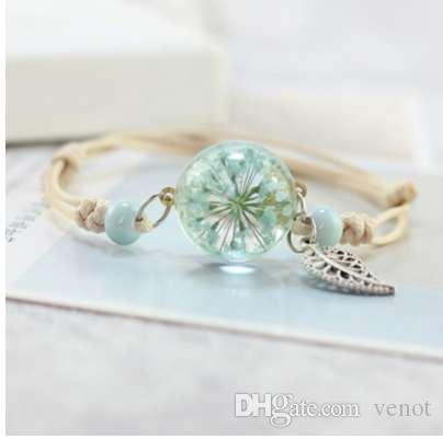 Nueva Boho Vintage Charm Pulsera hecha a mano Real Dry Flower Glass Ball Weave pulseras ajustables brazalete para mujer Moda