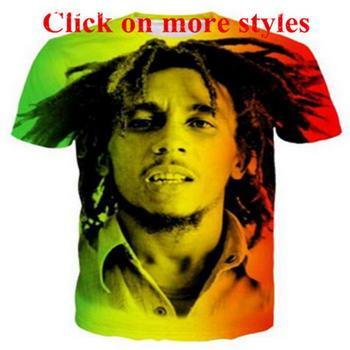 Боб Марли новая мода футболки новая мода мужчины / женщины 3D характер футболки футболка 3D печати футболки топы 101