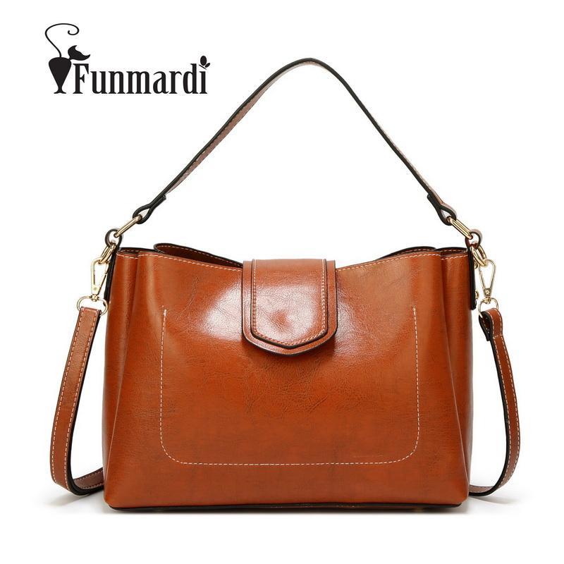 FUNMARDI mujeres de los bolsos casuales de la moda Bolsas para mujeres 2018 totalizadores sólido de la vendimia Bolsa Feminina WLAM0261
