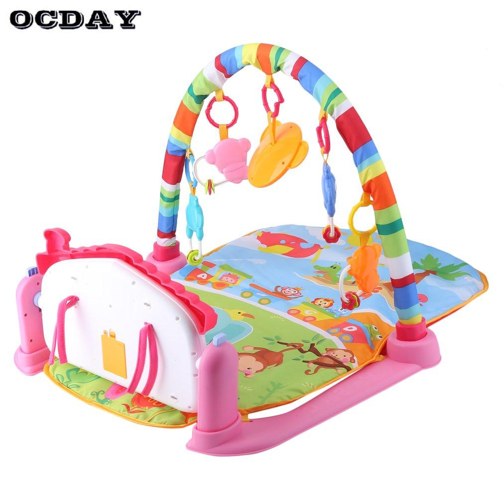 3 in 1 Baby Play Mat Rug Develop Crawling Kid's Music Mat with Keyboard Infant Fitness Carpet Educational Rack Pad Toys