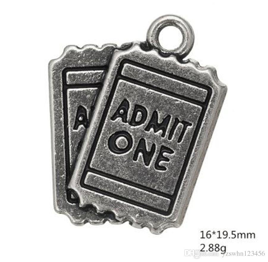 Argento antico placcato ammettere un film biglietti fai da te fascino braccialetto inciso per amanti del cinema