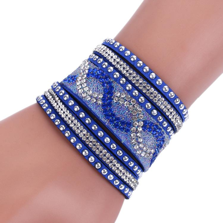 515e7c79ca1a7 Wholesale Fashion Multilayer Wrap Bracelet Braid Rhinestone Slake Deluxe  Leather Charm Bangles With Sparkling Crystal Wristband Women Christmas  Gifts ...