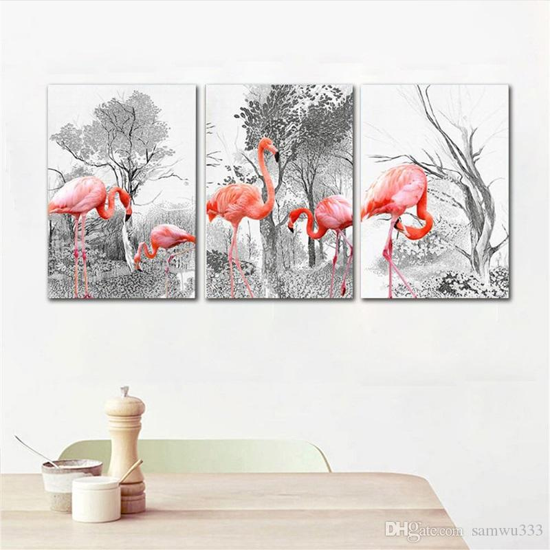 Nordic Minimalist Black and White Forest Flamingo Combination Decor Painting Living Room Wall Canvas Prints Unframed