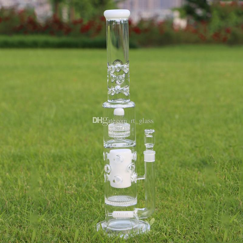 "20.5"" Big Glass Bong For Strong Men 7mm Thickness Glass White Four Perc Parts Glass dab oil rig bongs"