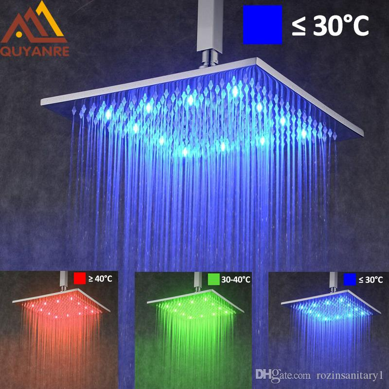 """Modern 12 """"LED färgförändring regnduschhuvud takmonterad överhuvuddusch spruta krom finish"""