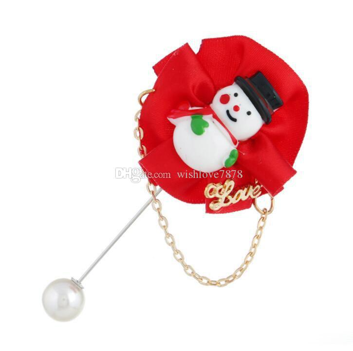 NEW Christmas Brooch Man Woman Christmas Tree/Snowman With Pearl Handmade Boutonniere Stick Brooch Pin Christmas Accessories Jewelry