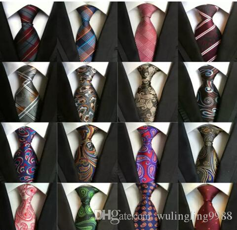 185 Stilleri 8 cm Erkekler Ipek Kravatlar Moda Erkek Boyun Bağları El Yapımı Düğün Kravat Iş Bağları İngiltere Paisley Kravat Çizgili Ekoseler Nokta Kravat Çizgili