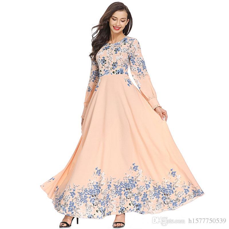 10pcs Fashion Adult Elegant Muslim Women Slim Pink Dress Middle East Abaya Dubai Kaftan Islamic Lady Digital Printed Long Dresses Clothing