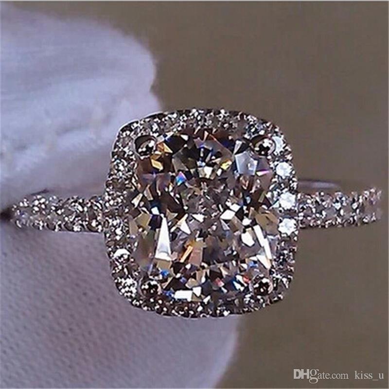 Anillos de moda para las mujeres 2018 elegante temperamento joyería para mujer regalo de las muchachas blanco plata lleno anillo de bodas