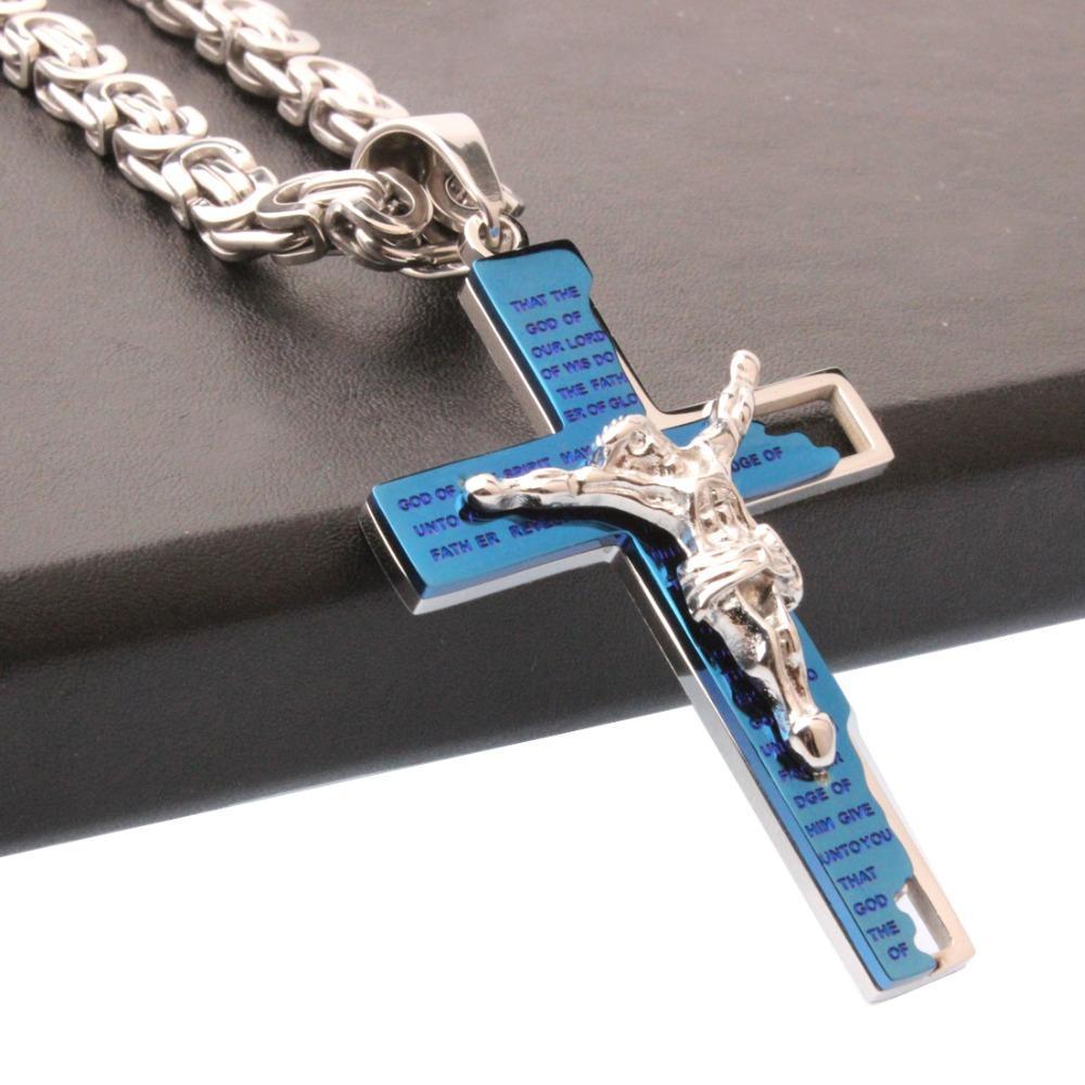 Mode pendentif croix collier pour hommes femmes Chaîne Argent Bleu chaîne en acier inoxydable Bijoux byzantin Lien 18-30 pouces