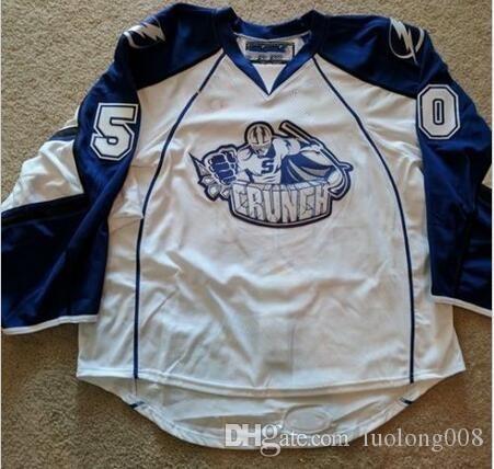 Vintage Syracuse Crunch # 50 Kristers Gudlevskis Mitchell Stephens Hockey Jersey bordado cosido Personalizar cualquier número y nombre Jerseys