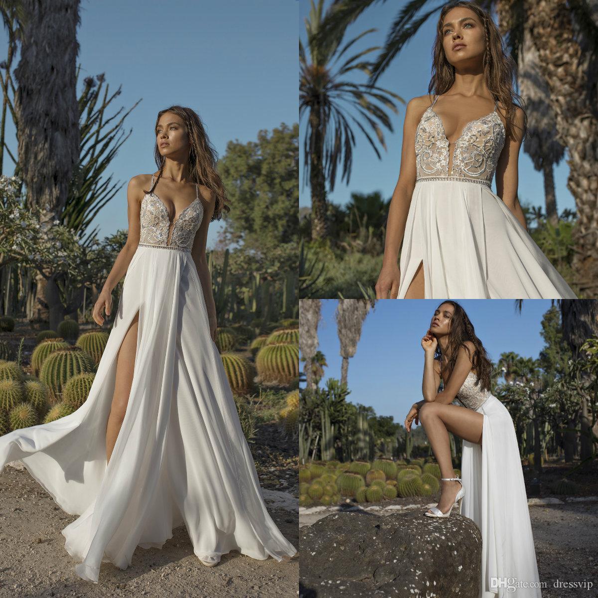 2018 Asaf Dadush Boho Wedding Dresses Applique Sequins Beaded Side Split Beach Wedding Gowns Chiffon Backless Plus Size Bridal Dress