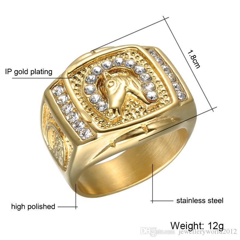 Altın at nalı adam titanyum yüzük Paslanmaz çelik at hayvan yüzük mix 8 # 12 #