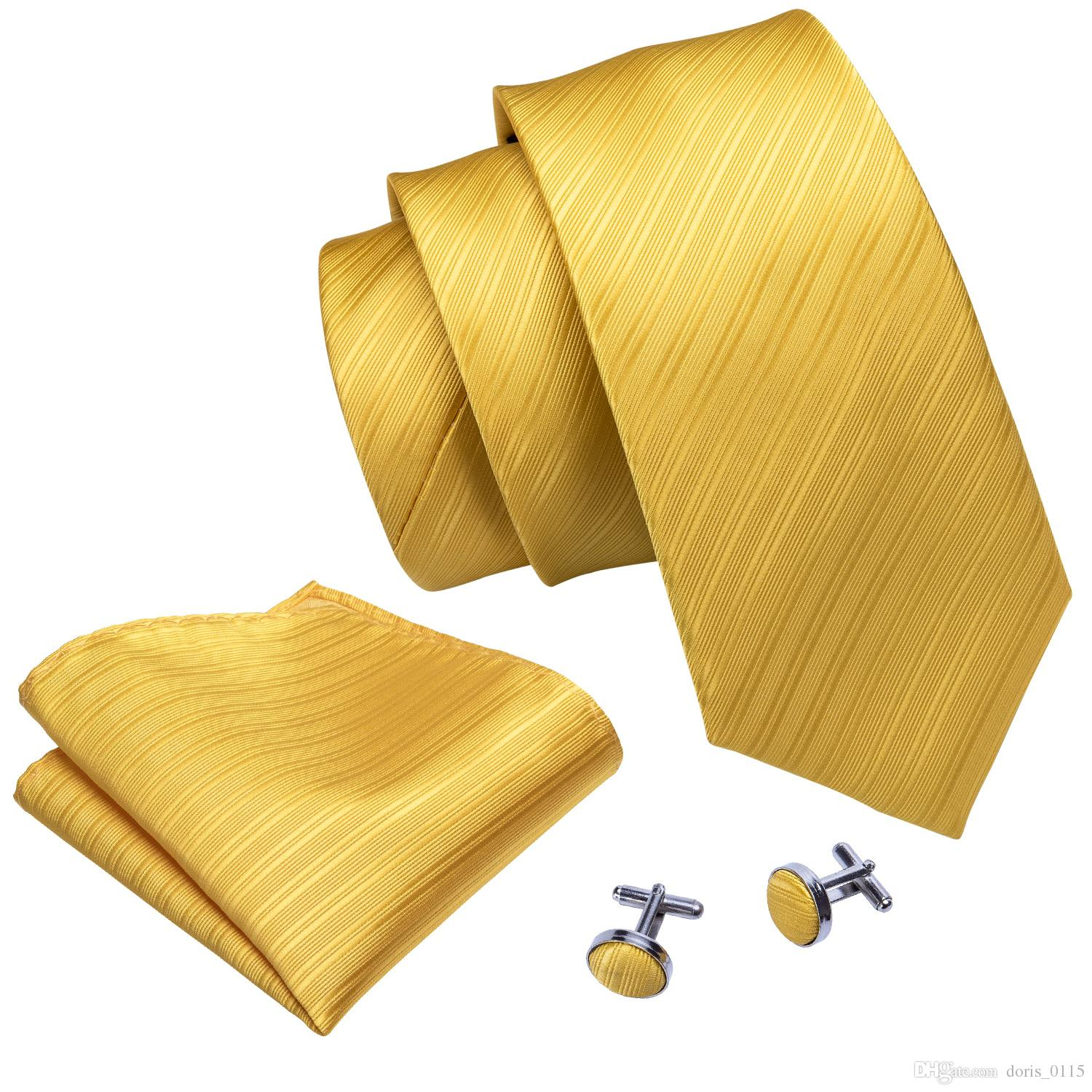 Yellow Solid Color Jacquard Woven Silk Necktie With Handkerchief And Cuffs Wholesale New Collection Business Wedding Dress N-5091