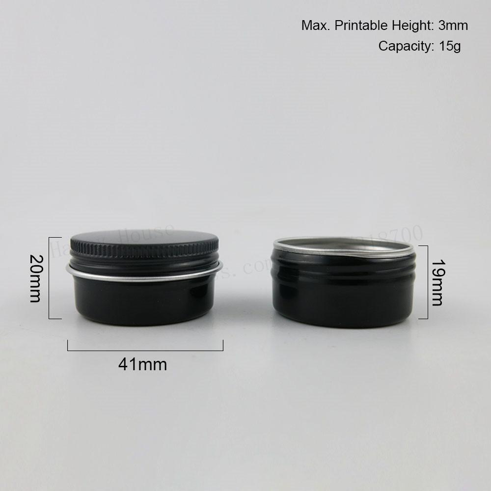 60 x 15g Negro lindo de metal de aluminio Crema Jar Pot maquillaje brillo de labios 15ml 15cc Pequeño Vacía cosmética metal Latas