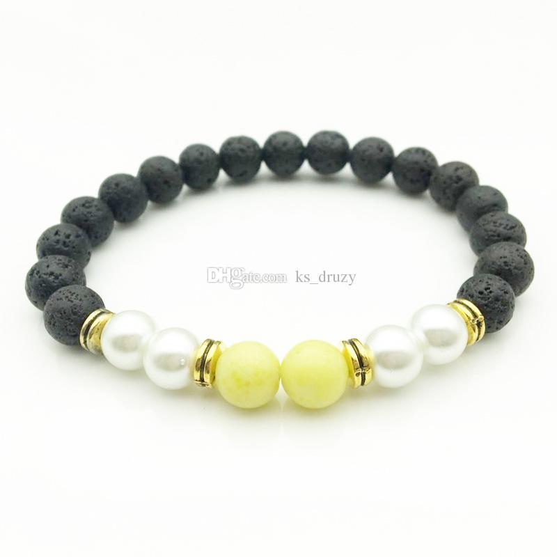 Natura Black Lava Stone Beads Elastic Bracelet Essential Oil Diffuser Bracelet Volcanic Rock Beaded Hand Strings Lemon Jade Jewelry