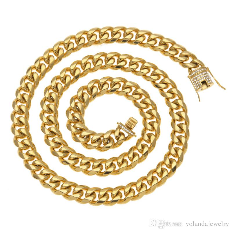 14mm 46cm 76cm High End Hip Hop Chain Cool Yellow Gold Plated Stainless Steel Cuban Chain Necklace with Rhinestone for Men