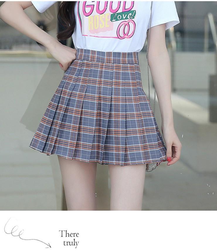 Fashion Summer Skirt Women 2018 Ete Skirts Casaul Pleated Ladies Skirts High Waist Mini Skirt Female Skirt Plaid Saia Jupe Femme (10)