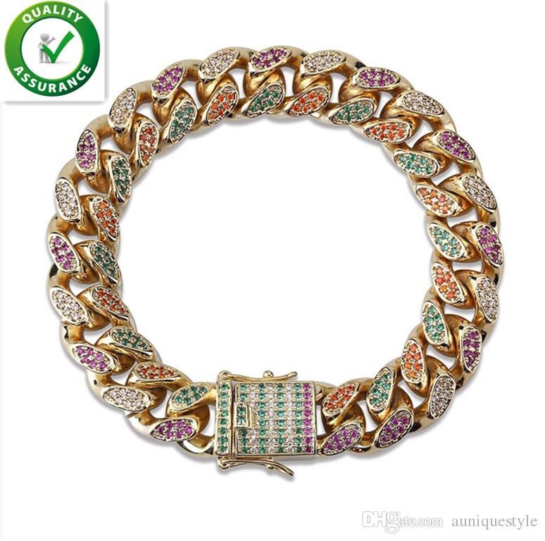 18MM Mens Bracelets Hip Hop Luxury Designer Jewelry 18K Gold Bracelet Cuban Link Chains Bangle Iced Out Micro Paved CZ Diamond for Men