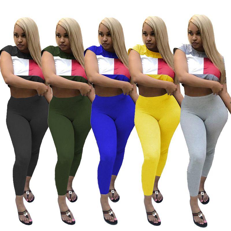 Women shorts sets Casual 2 piece Women Set Solid O-neck Short Sleeve Sports Clothing Elasticity Long Pants Bodycon Set