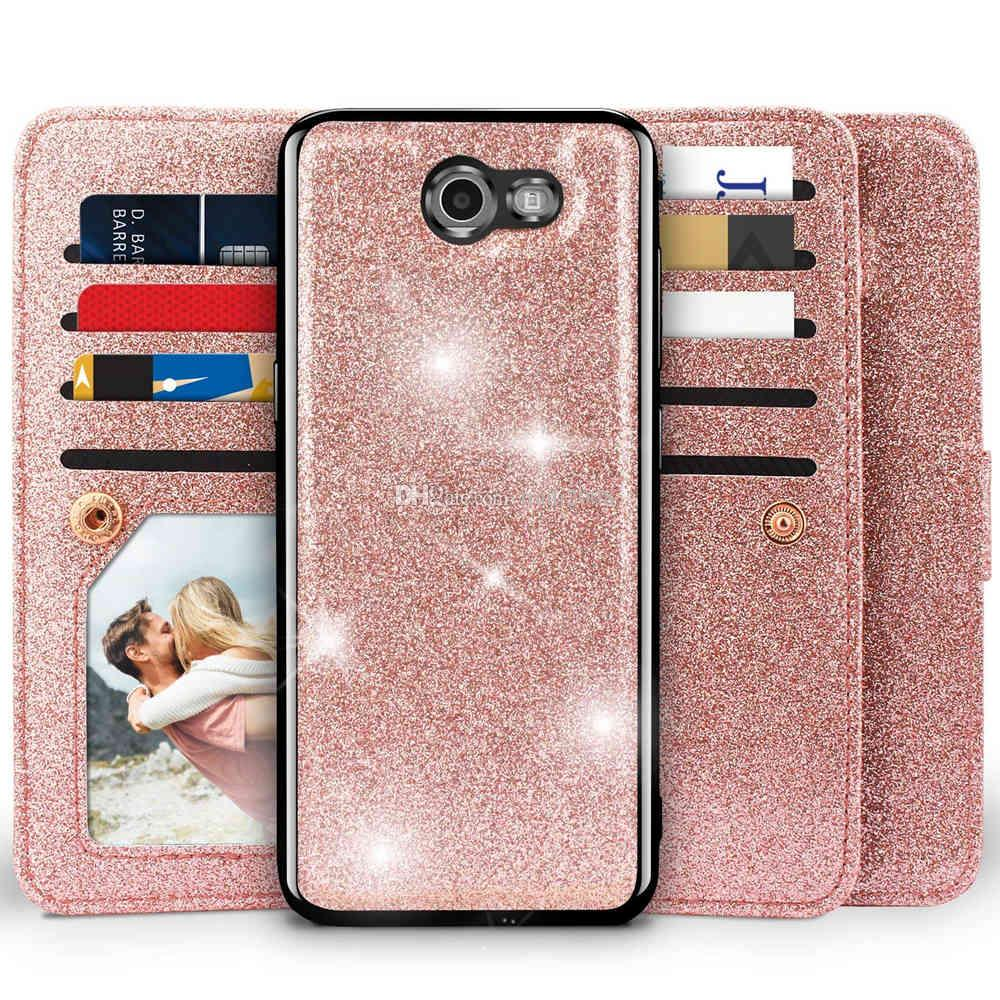 Samsung Wallet Case,Girls Detachable Magnetic Glitter Wallet Case With Car Mount Holder, 9 Card Slots, PU Leather Cover for Samsung Galaxy