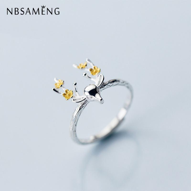 Nbsameng gerçek 925 ayar gümüş altın çiçek geyik açılış yüzükler kadınlar için ayarlanabilir yüzük takı hediye