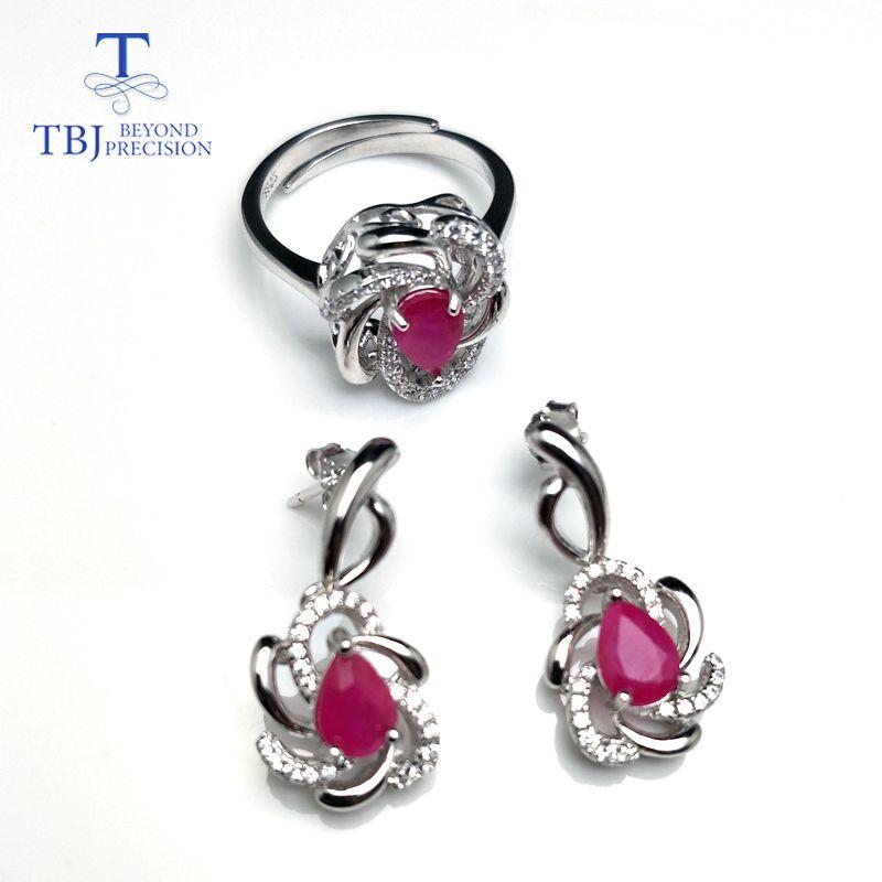 TBJ, doğal pe5 * 7 2.7ct canlı Kırmızı Yakut Yüzük ve küpe takı kadınlar için 925 ayar gümüş set yıldönümü düğün hediyesi