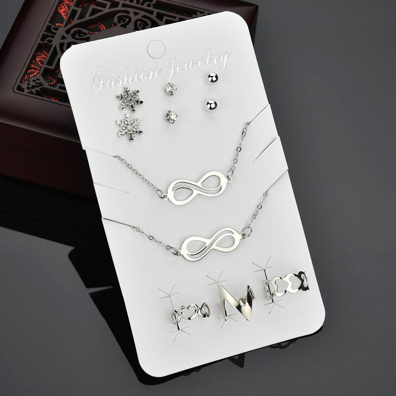 Crazy Feng 3Pairs Cute Snow Crystal Earrings+1 Bracelet+3pcs Heart Ring+1PC Infinity Symbol Necklace Jewelry Set For Women Gift