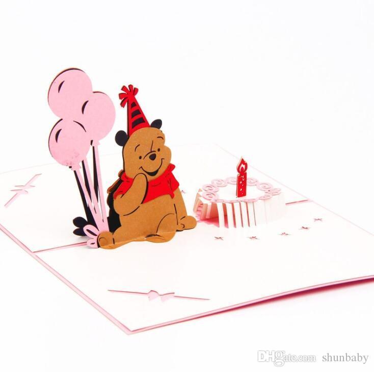 Pop up 3d Carte de vœux anniversaire Lapin Fleur Animal Festival invitation cadeau