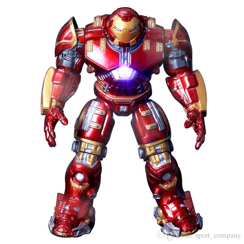 Marvel Heros Toy Avengers 2 Iron Man Hulkbuster Armor Joints 18CM Mark With LED Light Golden Paint PVC Action Figure Collection Model Toy