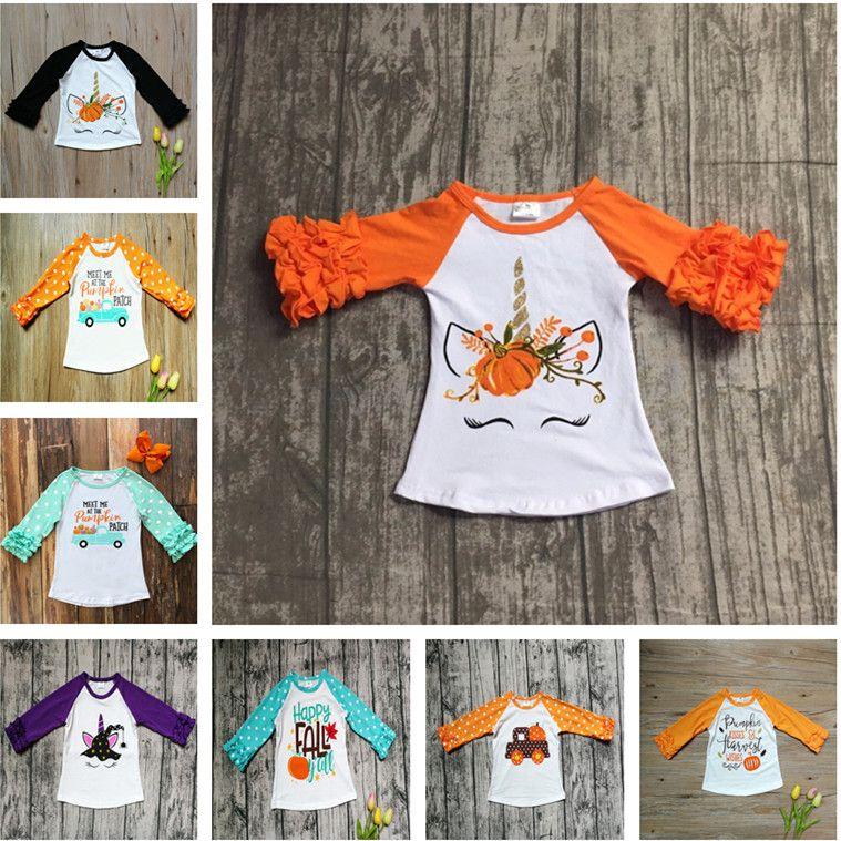 UK Halloween Kid Baby Girls Autumn Clothes Pumpkin Tops Sweater Blouse Pullover