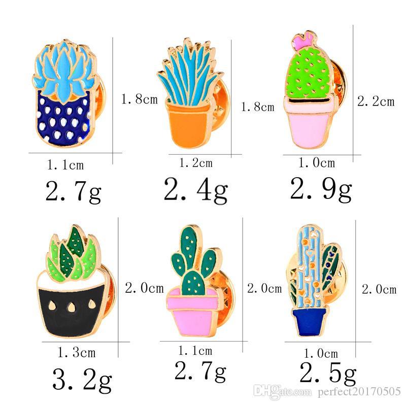 2018 Bijoux De Mode Coloré Émail Broches Badge Pour Vêtements Coloré Dessin Animé Broches Succulentes Plante Cactus Veste Sac DIY Badge livraison gratuite