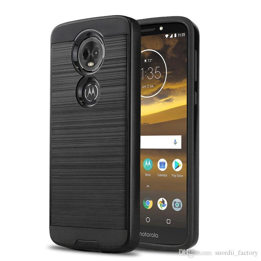 Hibrid Zırh Fırçalı Kılıfları Motorola Moto E6 G7 E5 Artı GO GITMEK X5 G6 G5 S E4 Artı X Tarzı